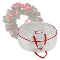 Elf Stor Deluxe 30-Inch Christmas Wreath Storage Bag in White