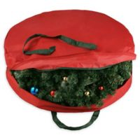 Elf Stor Supreme 30-Inch Canvas Christmas Wreath Storage Bag in Red