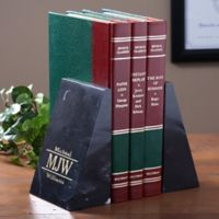Executive Monogram Personalized Marble Bookends