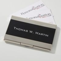 Executive Black & Silver Personalized Business Card Case