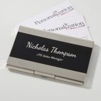 Contemporary Black & Silver Personalized Business Card Case