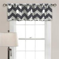Lush Decor Chevron Room Darkening Window Valance in Grey