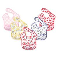Hudson Baby 5-Pack Waterproof Strawberry Bibs with Crumb Catcher Pocket in Pink