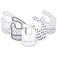 Hudson Baby 5-Pack Clouds Beginner Bibs with Crumb Catcher Pocket in Grey
