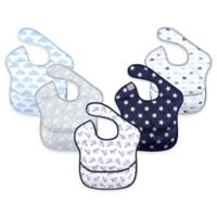 Hudson Baby® 5-Pack Waterproof Paper Airplane Feeder Bibs in Blue
