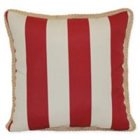 Cabana Stripe Square Indoor/Outdoor Throw Pillow in Red/Khaki