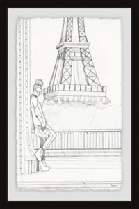 Parvez Taj Sketch of Eiffel 12-Inch x 18-Inch Framed Wall Art