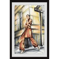 Parvez Taj Corner Street Fashion 20-Inch x 30-Inch Framed Wall Art