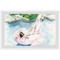 Parvez Taj Flamingo Floater 30-Inch x 20-Inch Framed Wall Art