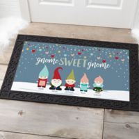 Gnome Family Personalized 20-Inch x 35-Inch Doormat