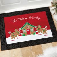 Gingerbread Family 18-Inch x 27-Inch Personalized Doormat