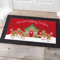 Gingerbread Family 20-Inch x 35-Inch Personalized Doormat