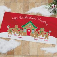 Gingerbread Family 24-Inch x 48-Inch Personalized Doormat