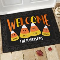 Candy Corn Family Personalized 18-Inch x 27-Inch Doormat