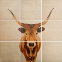 Deny Designs 9-Piece Cow Square Wood Wall Art in Brown