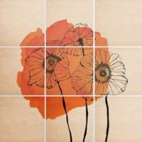 Deny Designs 9-Piece Orange Poppies Square Wall Art in Black