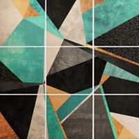 Deny Designs 9-Piece Geometry Wall Art in Green/Black