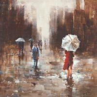ArtMaison Canada Umbrella Day 36-Inch Square Canvas Wall Art