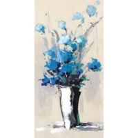 ArtMaison Canada Flower Pots Colorful Blue II 24-Inch x 48-Inch Canvas Wall Art