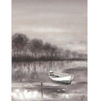ArtMaison Canada River Boat 30-Inch x 40-Inch Canvas Wall Art