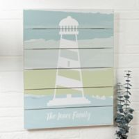 Seaside Lighthouse Personalized 16-Inch x 20-Inch Shiplap Sign