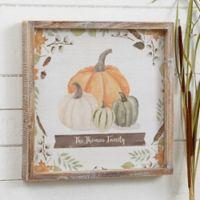 Autumn Pumpkins Light Wash Personalized 12-Inch x 12-Inch Barnwood