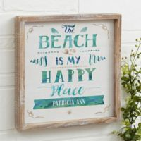 The Beach Personalized 12-Inch x 12-Inch Barnwood Frame Wall Art