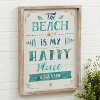 The Beach Personalized 14-Inch x 18-Inch Barnwood Frame Wall Art