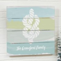 Seaside Swatch Knot Personalized 12-Inch x 12-Inch Shiplap Sign