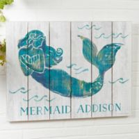On The Waves Mermaid Personalized 16-Inch x 20-Inch Shiplap Sign