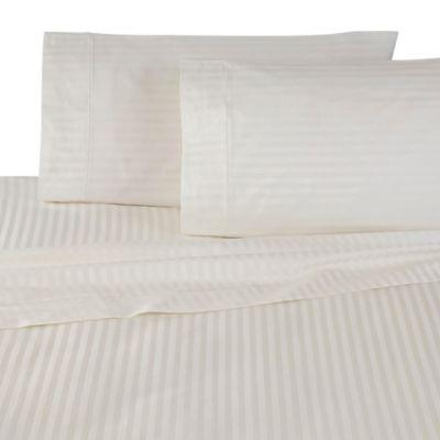 Martex 600 Thread Count Supima Stripe Standard Pillowcases In Cream (Set Of  2