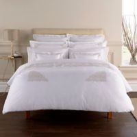 Christy Hampton Queen Flat Sheet in White/Naural