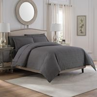 Valeron Solid Full/Queen Duvet Cover Set in Charcoal