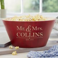 The Wedding Couple Personalized Red Bamboo Bowl- Large