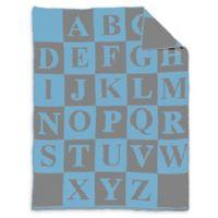 Alphabet Baby Blanket in Blue/Grey