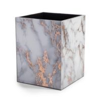 Kassatex Marble Swirl Wastebasket in Gold
