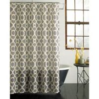 Geo Lattice Shower Curtain in Yellow/Grey