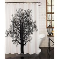 Tree Silhouette Shower Curtain in Black/White