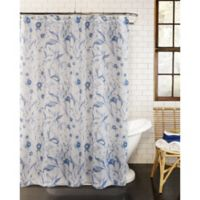 Leilani Fabric Shower Curtain in Blue/White