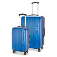 Geoffrey Beene Debossed 2-Piece Luggage Set in Navy/Red