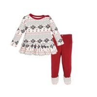 Burt's Bees Baby® Newborn 2-Piece Fair Isle Organic Cotton Dress and Footed Pant Set