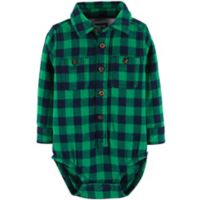 Oshkosh B'gosh® Size 18-24M Checkered Flannel Bodysuit in Green