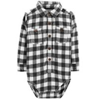 Oshkosh B'gosh® Size 18-24M Plaid Flannel Bodysuit in Black/White