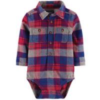 Oshkosh B'gosh® Size 6-9M Plaid Flannel Bodysuit in Red/Blue