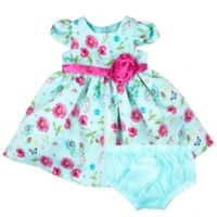 Nannette Baby® Size 3-6M 2-Piece Floral Dress and Panty Set in Mint