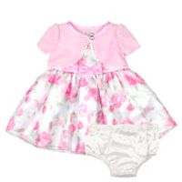 Nannette Baby® Size 18M 2-Piece Shrug Floral Dress and Panty Set in Pink