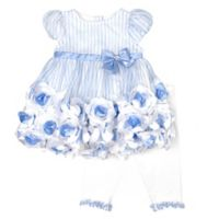 Nannette Baby® Size 3-6M 2-Piece Striped Print Roses Dress and Legging Set in Blue