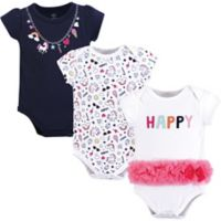 Little Treasures Size 0-3M 3-Pack Happy Rainbow Bodysuits in White