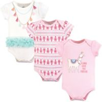 Little Treasures Size 9-12M 3-Pack Llama Bodysuits in Pink