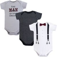 Little Treasures Size 3-6M 3-Pack Man of My Dreams Bodysuits in Black